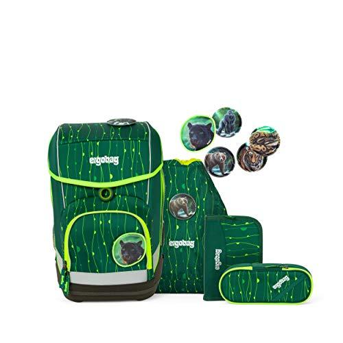 ergobag cubo Set - ergonomischer Schulrucksack, Set 5-teilig - RambazamBär - Grün