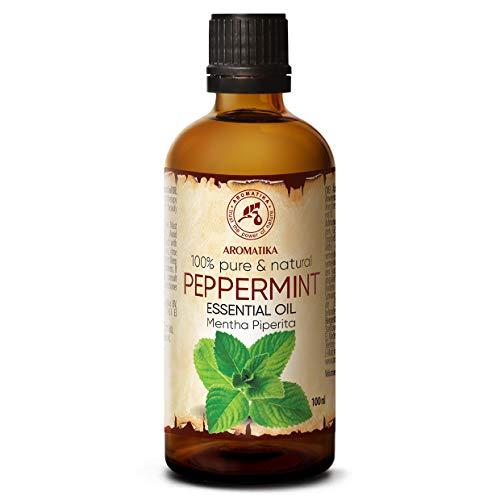 Aceite Esencial de Menta 100ml - Mentha Piperita - India - 100% Puro y Natural - Aceites Esenciales de Menta para Alivio del Estrés - Sauna - Relajación - Spa - Difusor Aromático - Lámpara de Aroma