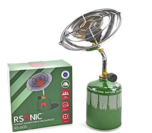 RSonic Mini Campingheizung Gasheizung Gaskocher Campingkocher für Schraubventilkartusche (Heizung/Gaskocher mit 2X 100g Kartusche)