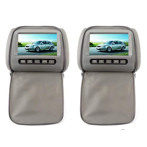 Reproductor de radio estéreo para automóvil 2pcs 7 en HD Reposacabezas para automóvil Reproductor de video LCD con cubierta de cierre de cremallera Control remoto Pantalla MP5 Monitor de pantalla táct