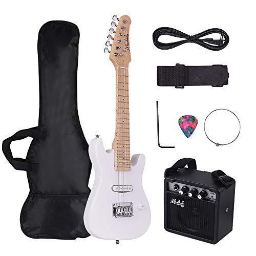 Muslady E-Gitarre Kit 28 Zoll Kinder Elektrische Gitarre ST Ahorn Hals Paulownia Karosserie mit Mini-Verstärker Gitarrentasche Gurt Pick String Audio Kabel Rechtshänder-Stil