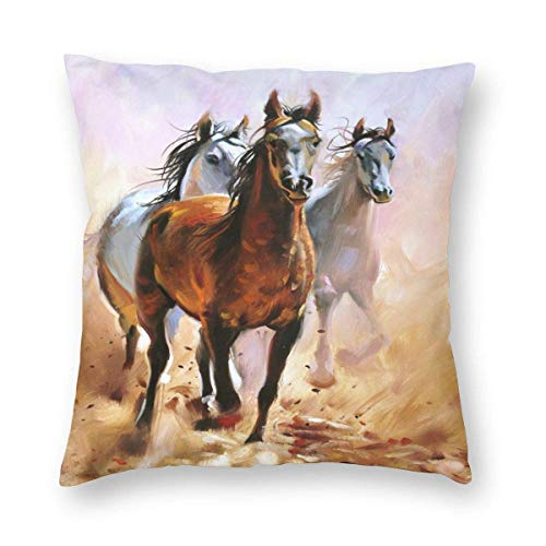 Funda de cojín para correr, diseño de caballo salvaje, 45,7 x 45,7 cm