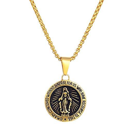 Oro Virgen María Medallón Collar Acero Inoxidable Ronda Milagrosa Medalla Bendita Madre Colgante Collares Para Mujeres Hombres