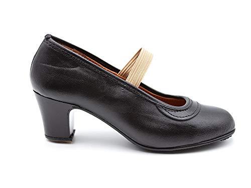 Malaca - Zapato Profesional de Baile, Fabricado en Piel, Cierre de Goma elástica, tacón y Suela con Clavos, para: Niña Color: Negro Talla:33