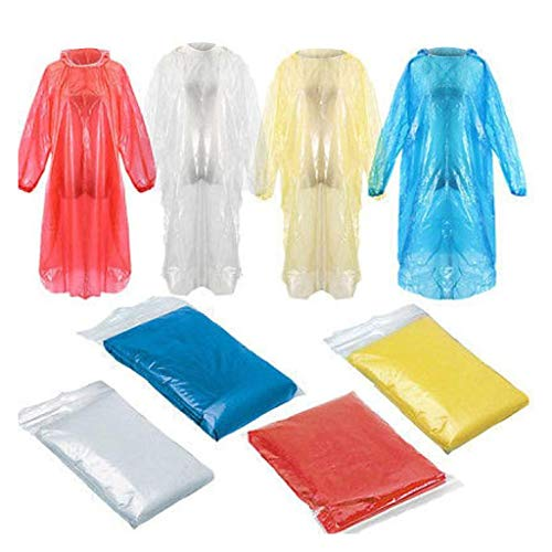 Disposable Rain Ponchos - 10 Pack Emergency Disposable Raincoat for Adults Kids Portable Waterproof Rain Coat Poncho with Drawstring Hood and Elastic Sleeve Family Pack Perfect for Outdoors (5P)