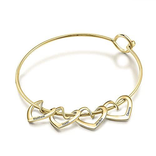 mimiliy Pulsera Personalizada Personalizada Grabado Nombre Heart Charms Pulseras para Mujeres Brazalete Personalizado de Acero Inoxidable Bricolaje Grabado (Color : 4 Hearts Gold)
