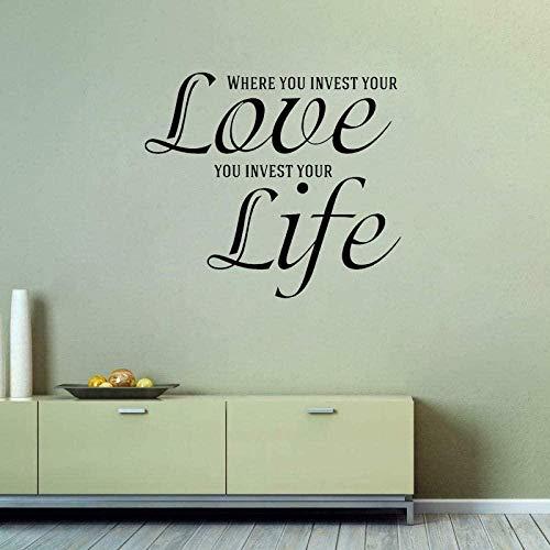 Adhesivo de pared Adhesivo de pared removible de PVC ¿Dónde puedo invertir en tu amor? Adhesivo Art Deco 63Cmx55Cm