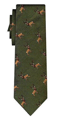 Cravate soie deer rpt on green
