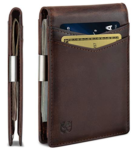 SERMAN BRANDS Money Clip Wallet - Mens Wallets slim Front Pocket RFID Blocking Card Holder Minimalist Mini Bifold (Texas Brown Transformer)