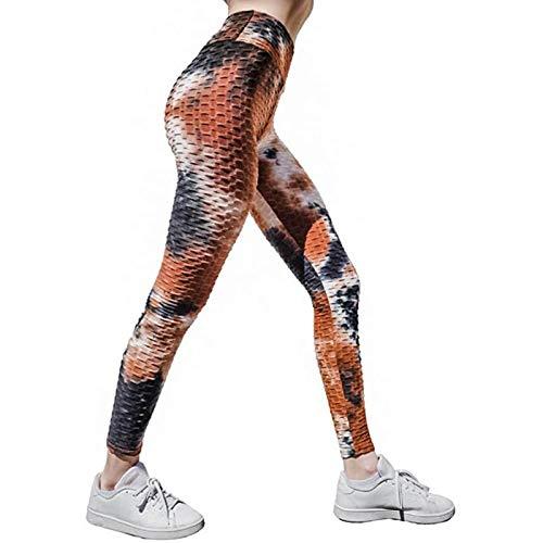 ZGMA Mallas con Bolsillos de Deporte para Mujer Push up Rojo Tie Dye Bubble Pantalones Leggins Secado rápido Deportivos de Cintura Alta Elásticos para Yoga Running