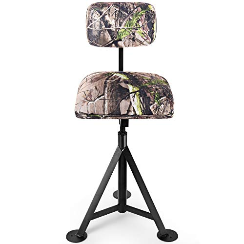 LDAILY Moccha Camouflage Swivel Hunting Chair, Portable Fishing Seat w/Thick Cushion Seat & Curved Backrest, Height-Adjustable Folding Blind Stool w/Feet Pads for Outdoor Activities, Camping