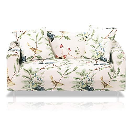 Fashion·LIFE 2 Plazas Funda de Sofá Elástico Cubierta Floral Print Funda Protectora de Poliéster Suave sofá,Blanco Polvo