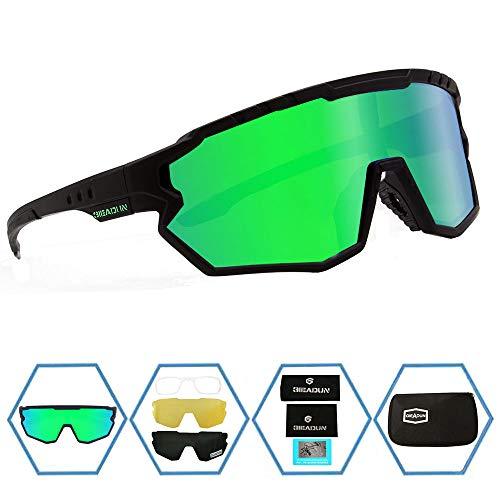 GIEADUN Sports Sunglasses Protection Cycling Glasses Polarized UV400 for Cycling, Baseball,Fishing, Ski Running,Golf (Green)