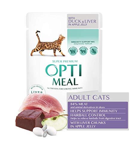 Optimeal. Alimento húmedo para gatos adultos – Control de pelo – Pato y hígado en gelatina de manzana, caja (12 x 85 g)