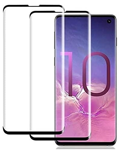 【2021改良型】【2枚セット】Galaxy S10 用 ガラスフィルム 3D曲面 保護フィルム 最高硬度9H/貼り付け簡単/本体の湾曲する端まで貼れる/気泡ゼロ/干渉しない-Galaxy S10/ブラック