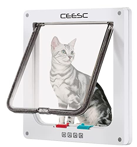 CEESC Puerta de gato grande para ventanas, puerta de gato con bloqueo de 4 vías para ventanas y puerta de cristal deslizante, puerta de solapa impermeable para gatos y perros con circunferenci