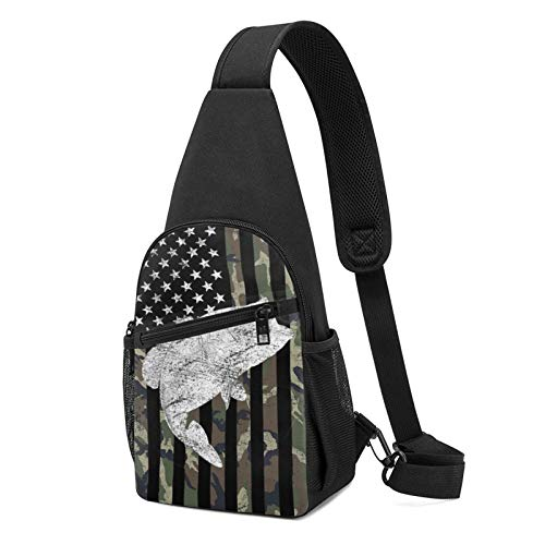 Sling Bag for Men Anti-Theft Shoulder Backpack Green Camo Camouflage Flag Bass Fishing Angler Chest Bags Adjustable Crossbody Lightweight Daypack Travel & Hiking