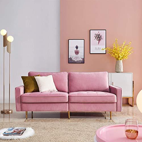 Blanketswarm Modernes Sofa Schlafsofa mit 2 Kissen,Samtstoff Couch Ecksofa Eckcouch 2er-180x80x80cm