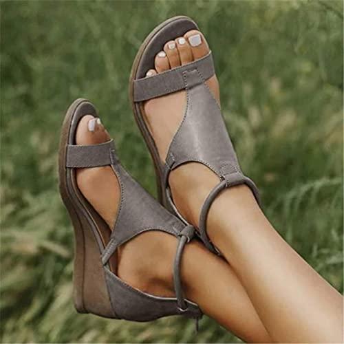 Cakunmik Plataforma De Verano para Mujer Sandalias con Cremallera Sandalias De Cuña Peep Toe Comfy Beach Zapatos Gladiador Sandalias De Punta Abierta Playa,Gris,44