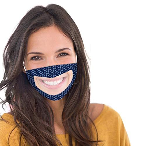 transparent Hochentwickelte waschbare Nano Mund-und Nasen-Bedeckung,Wiederverwendbarer Gesicht Atmung Schutz gegen Staub, Pollen, Abgase, Luftverschmutzung Design für Taubstumm face Cover (Marine)