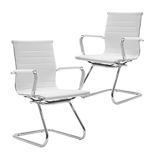 Wahson Heavy Duty Leather Office Guest Chair Mid Back Sled Reception Conference Room Chairs, Set of 2, True White