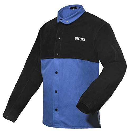 QeeLink Welding Jacket Split Leather Sleeves | Premium Flame Resistant Cotton Body Welder Jackets (Large)