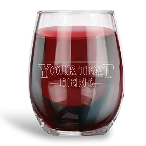 Gepersonaliseerde Stemless wijnglas gegraveerd met uw aangepaste tekst vreemdeling lettertype Humor Drinkware Grappig geschenk
