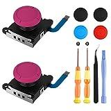 Jeu d'outils de réparation de joystick analogique 3D de remplacement pour joystick pour manette Nintendo Switch Joy-con, 4 capuchons supplémentaires (rouge)