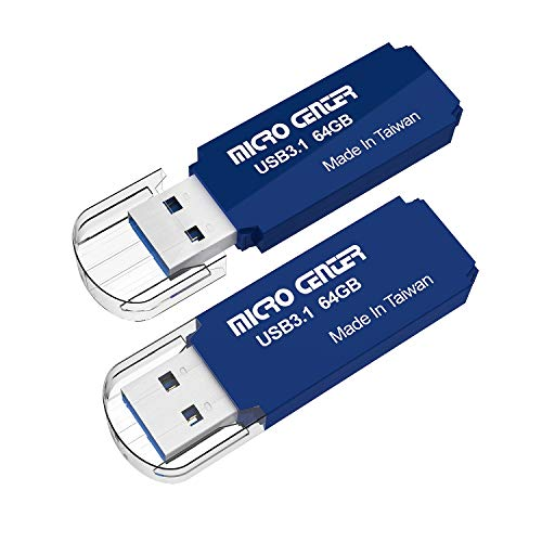 Micro Center Pro 2 Pack 64GB USB 3.1 Gen1 Flash Drive Memory USB Stick External Data Storage Thumb Drive Pendrive, Compatible with Windows Mac OS (64GB 2-Pack, Blue)