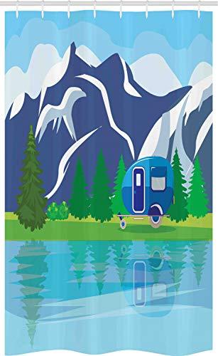 ABAKUHAUS happy Camper Douchegordijn, Cartoon Lake Landscape, voor Douchecabine Stoffen Badkamer Decoratie Set met Ophangringen, 120 x 180 cm, Veelkleurig