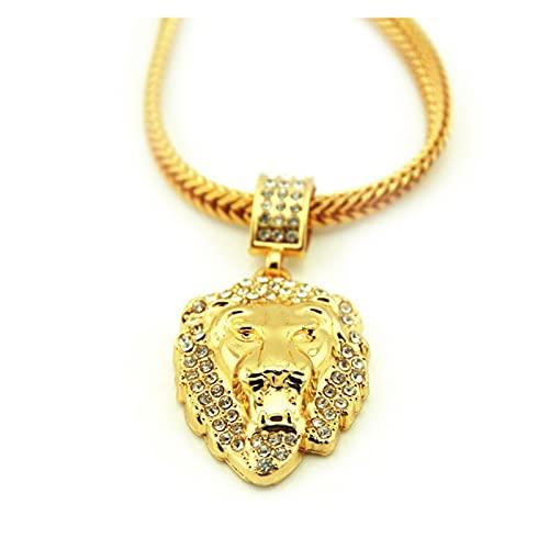 YESYI SHMGO Nuevo Popular Hip-Hop Plated 18-Karat Gold and Diamond Studded Peach Collar Colgante para Hombres y Mujeres Pro (Gem Color : Gold, Length : 76CM)