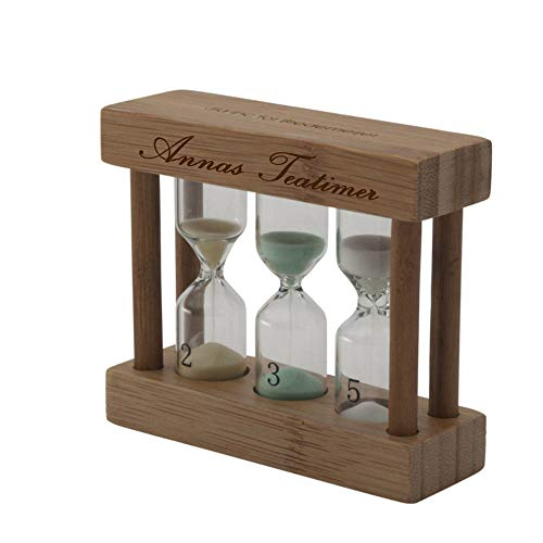 Bredemeijer Bambus-Teatimer MIT Gravur (z.B. Namen) 3in1 farbige Sanduhr 2, 3 & 5 min Heller - Timer, Teeuhr