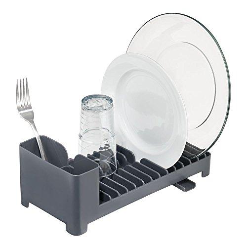mDesign praktischer Geschirrabtropfer mit Besteckkorb und Abfluss – Geschirrabtropfgestell für Ihre Spüle – Geschirrabtropfkorb aus Kunststoff – schiefergrau