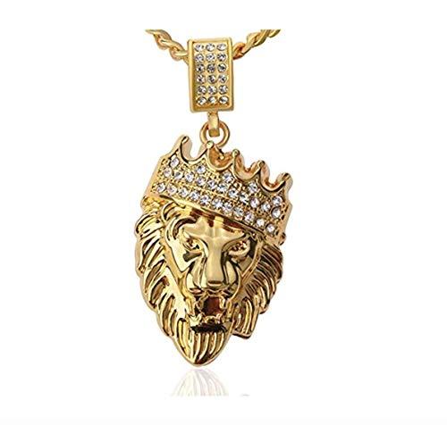 ICEBOX Löwe von Juda Hebräisch Israelit Schmuck. Löwenkopfkette. Löwenkrone Halskette. CZ Diamonds 24K GP. Goldfarbe Hip Hop Halskette Kette. 24in