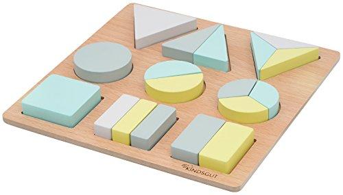 Kindsgut Holzpuzzle mit 18 Teilen, geometrisches Puzzle für Klein-Kinder, fördert die Feinmotorik und das räumliche Denken, erstes Mengenverständnis, Lern-Puzzle, Greta