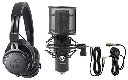 Fantastic Deal! Audio Technica ATH-M60X Monitor Headphones+Professional Condenser Mic+Pop Filter