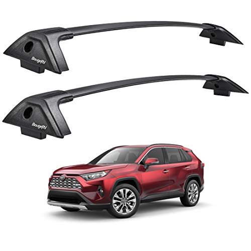 BougeRV Car Roof Rack Cross Bars for 2019 2020 2021 Toyota RAV4 with Side Rails, Aluminum Cross Bar Replacement for Rooftop Cargo Carrier Bag Luggage Kayak Bike Snowboard Skiboard