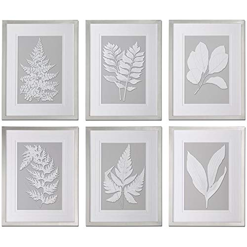 Uttermost Moonlight Ferns Framed Art in Silver (Set of 6)