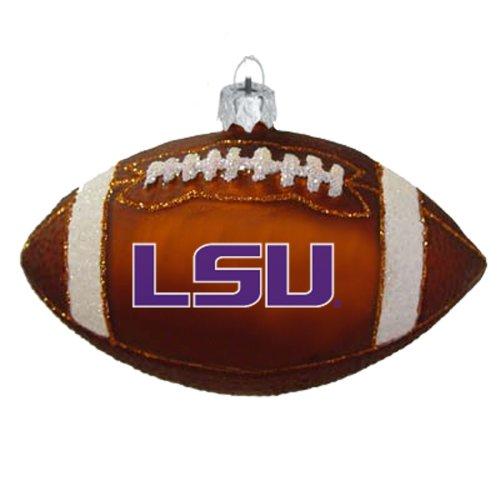 NCAA LSU Fightin Tigers Blown Glass Football Ornament