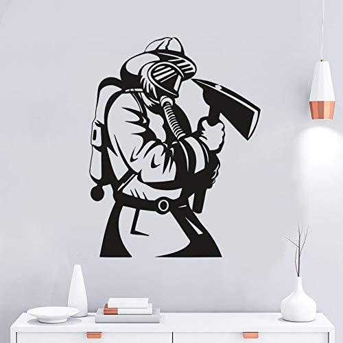 Feuerwehrmann Axt mit Maske Vinyl Home Interior Dekoration Feuerwehrmann Held Wandplakat,CJX12886-43x55cm