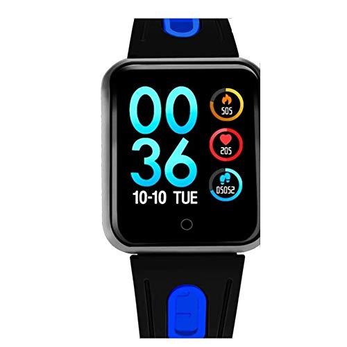 CIGONG Smart-Uhr Sport IP68 Smart Watch P68 Fitness Armband Aktivität Tracker Herzfrequenz-Monitor Blutdruck for Ios Android Frauen Männer Smart-Armband (Color : Silica-Black Blue)