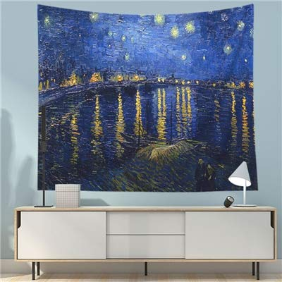 KHKJ Tapiz impresionista Imagen de Arte Cielo Estrellado Paisaje Hippie Tapiz tapices decoración de la casa Manta A4 200x150cm