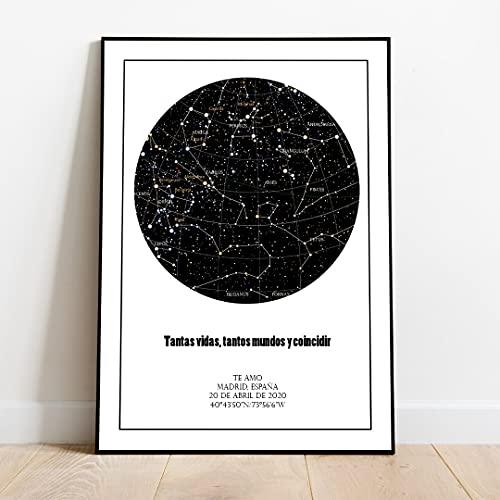 Genérico Cuadro Mapa Estelar Personalizado. Mapa de Estrellas con tu Fecha y posición. Regala un trozo de Cielo. (200_x_300_cm)