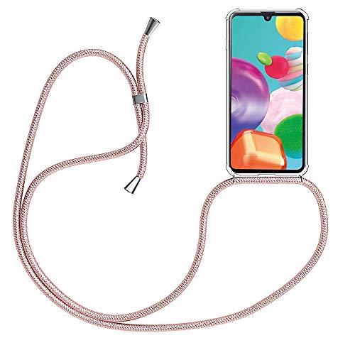 CaseLover - Carcasa para Samsung Galaxy A22 5G, ultrafina, transparente, silicona premium con cordón para el cuello y correa para Samsung Galaxy A22 5G, oro rosa