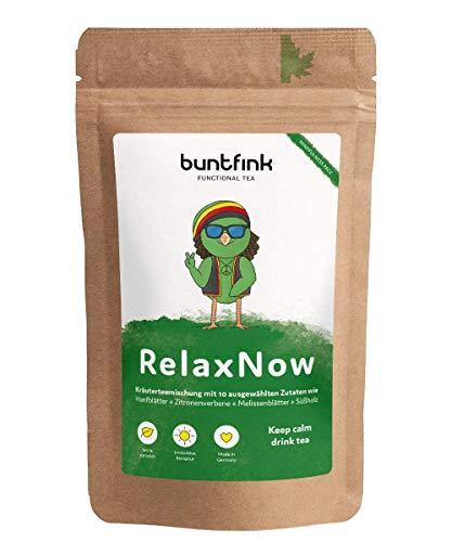 """Buntfink """"RelaxNow"""" Tee mit Moringa + Passionsblume + Melissenblätter + Rooibos, 100% natürlicher Kräutertee aus Deutschland, 60g loser Tee"""