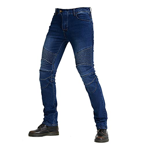 JICAIXIAYA Pantalones De Motociclista Para Hombres Con Retirable Forro Armadura Protector, Motorcycle Biker Jeans Respirable Resistente Al Desgaste Tela Aramid (Azul,5XL)