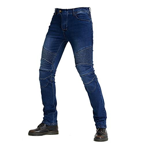 JICAIXIAYA Pantalones De Motociclista Para Hombres Con Retirable Forro Armadura Protector, Motorcycle Biker Jeans Respirable Resistente Al Desgaste Tela Aramid (Azul,M)