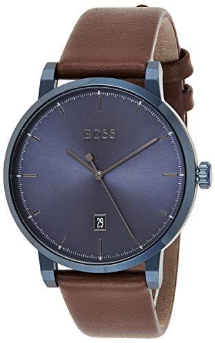 Hugo Boss Herren Analog Quarz Uhr mit Leder Armband 1513791