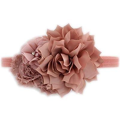 My Lello Baby Headband Shabby Fabric Flower Cluster Stretchy Elastic Dusty Rose