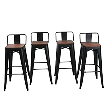 HAOBO Home 30  Low Back Metal Counter Stool Height Bar Stools with Wooden Seat [Set of 4] for Indoor/Outdoor Barstools, Matte Black